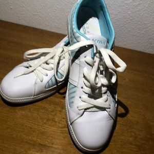 LaCoste white and light turquoise sneakers